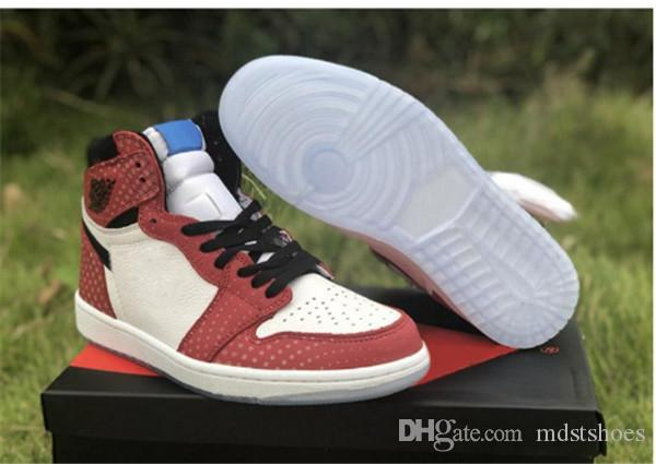 2019 Горячие Продажа 1 OG Высокий Человек-паук Origin Story Мужчины Баскетбол обувь Чикаго Кристалл кроссовки Спортивная обувь