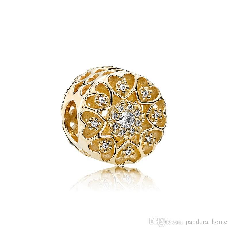매력 CZ 다이아몬드 구슬 판도라 높은 품질 DIY 팔찌 구슬 925 스털링 실버 도금 18K 골드 원래 박스 세트에 적합