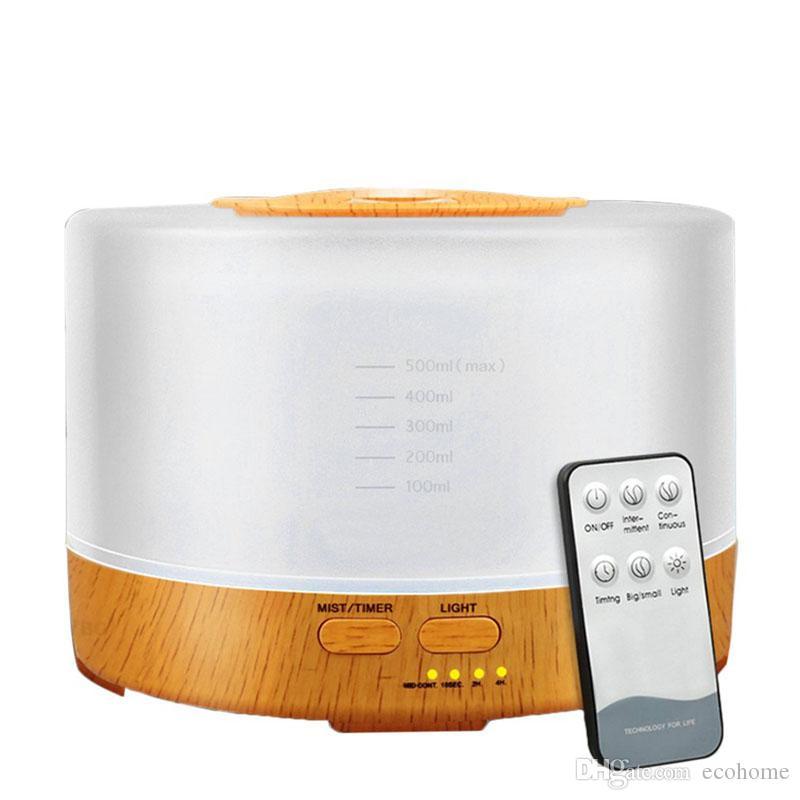 500ML العبير من الضروري النفط الناشر بالموجات فوق الصوتية الهواء المرطب الخشب لتنقية الهواء الحبوب مع 7 تغيير لون الصمام الخفيفة