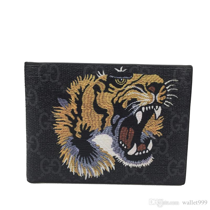 2019 new trend men's brand wallet leather men's tiger head wallet mini wallet with gift box wholesale price
