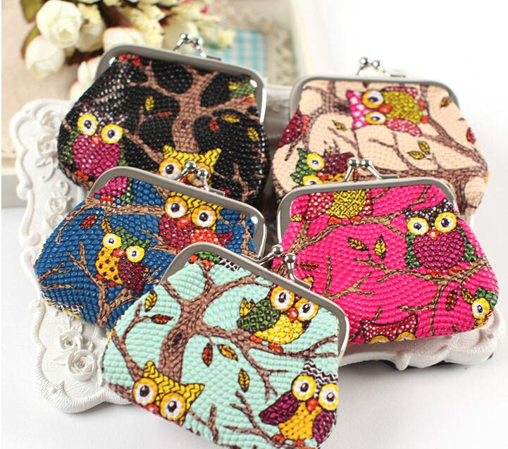 Hot fashion Stylist Multichoice Color Owl Patten PU Women Girls Coin Money Bag Purse Wallet Cheap K5393