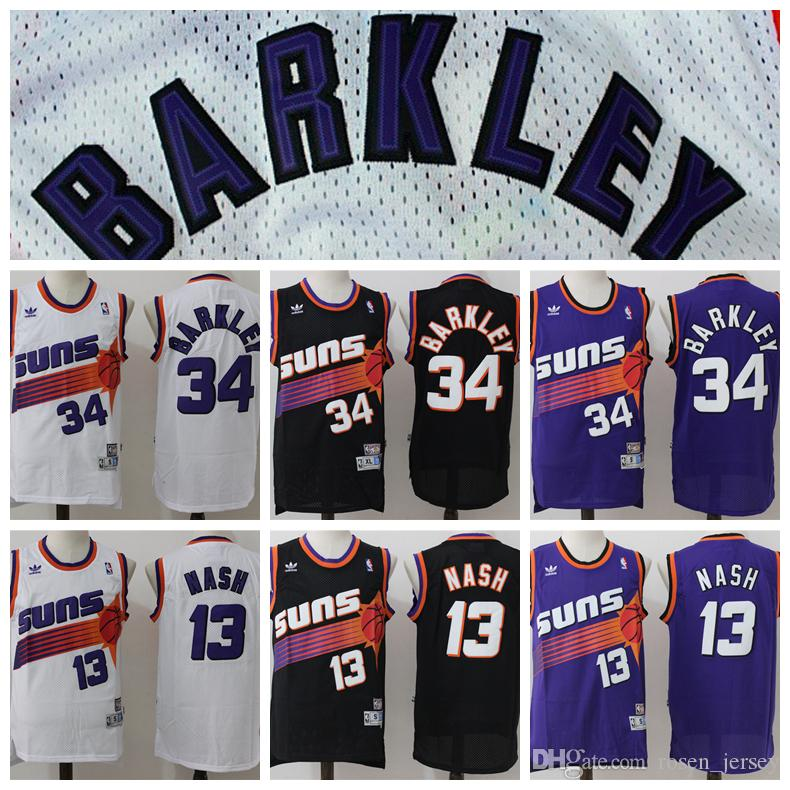 new concept 43c7f 3ad9c 2018 Retro Mens 13 Steve Nash Jersey 34 Charles Barkley Jersey Purple White  Black Hardwood Classics Phoenix Suns Basketball Jerseys Stitched From ...