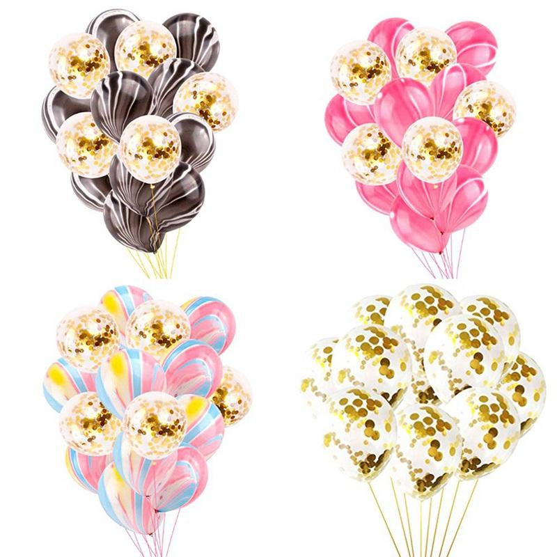 15 Pcs Pink\black Gold Party Marble Confetti Ball For Wedding Gender Reveal Baby Shower Ball With Ribbon