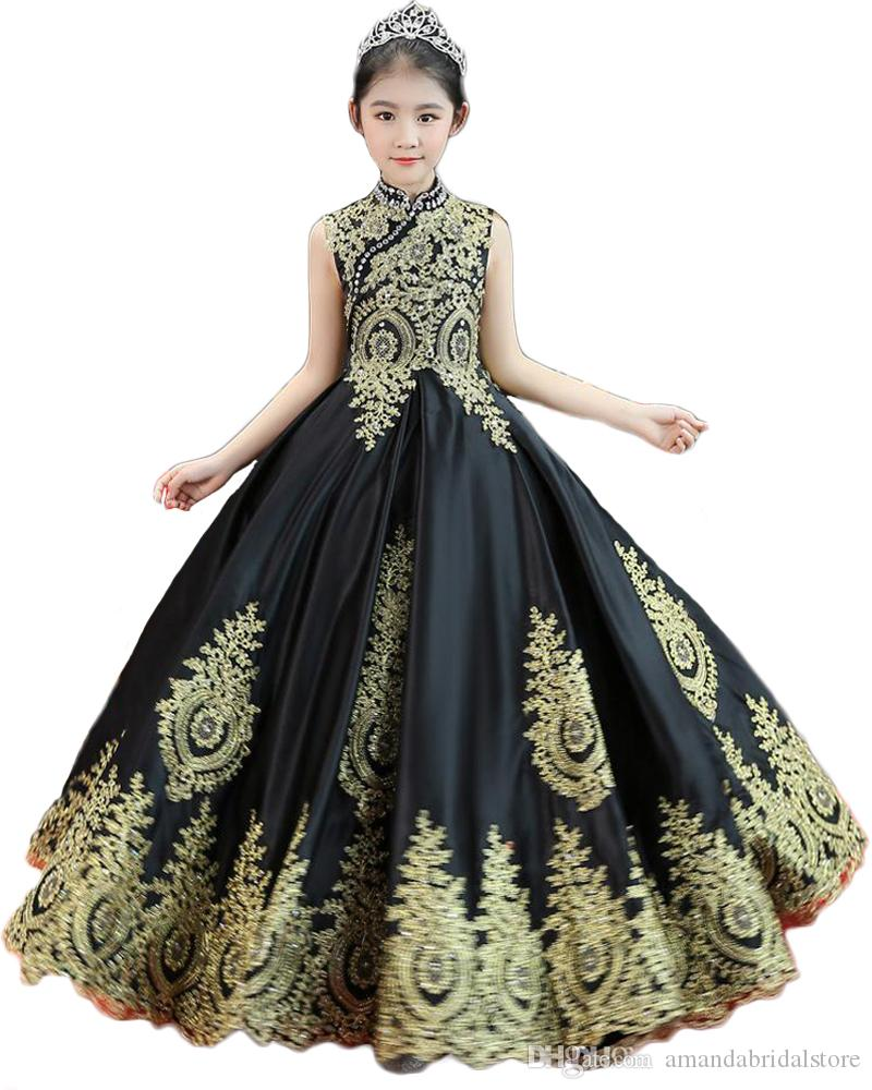 Bling Beaded Rhinestone Jewel Neck Sleeveless Little Girls Pageant Gowns Lace Up Back Long Tulle Flower Girls Dresses for Weddings