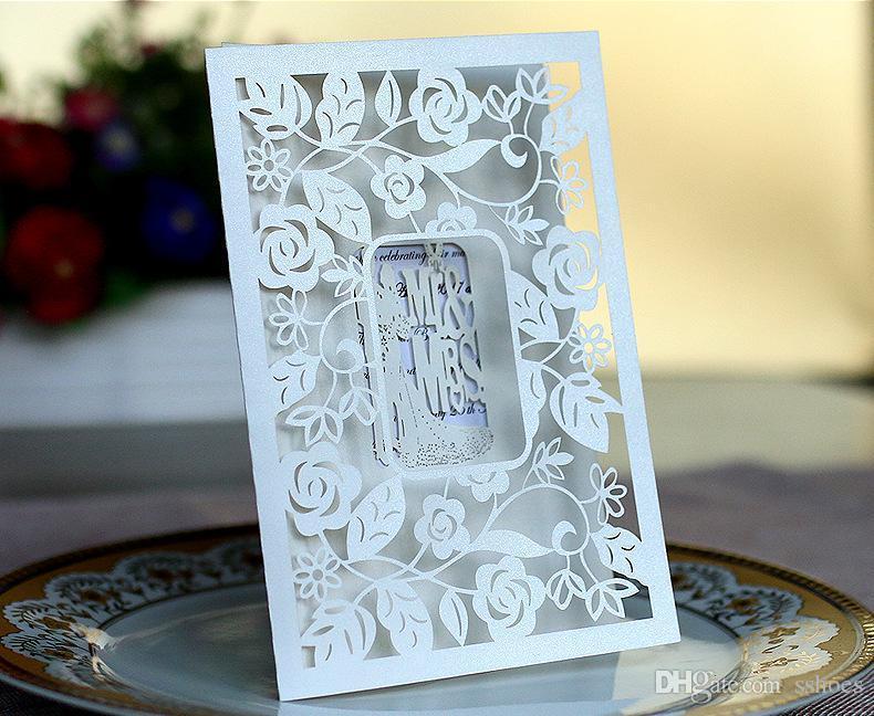 레이저 컷 중공 꽃 결혼식 초대장 씨 부인 신부 신랑 결혼식 파티 초대장 카드를 사용할 수 인쇄 사용자 정의