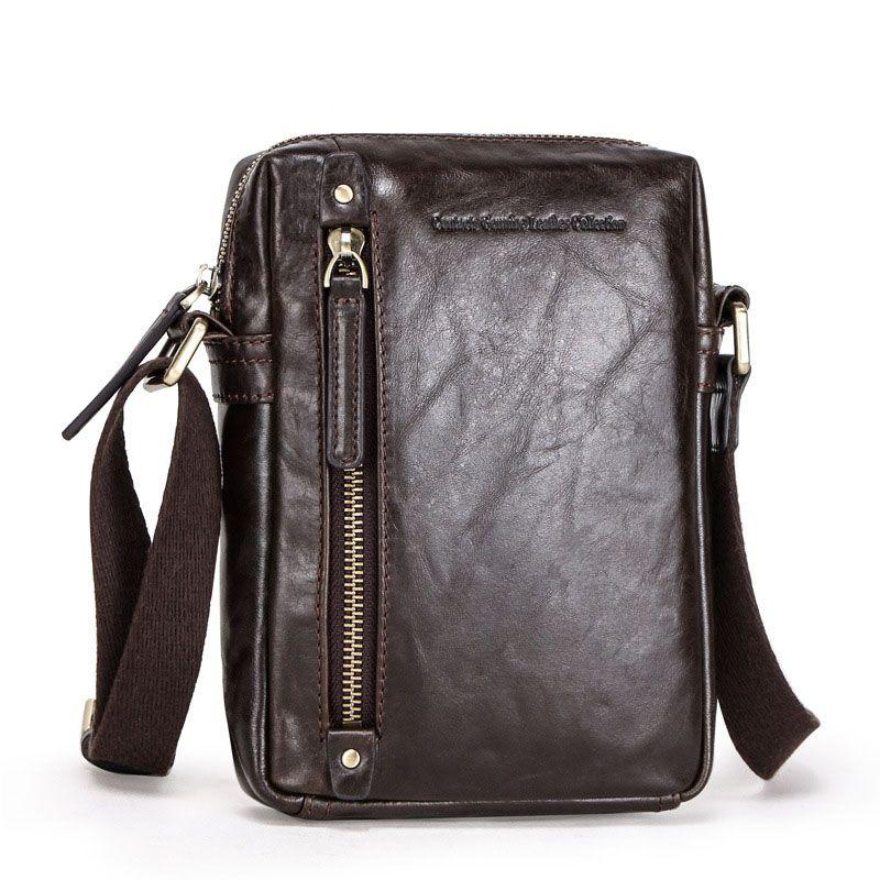 Genuine Leather Oil Cow Leather Messenger Shoulder Bag Big Zip Pocket for 7.9 inch Laptop Travel Vintage Style Male Soft Bags MB127