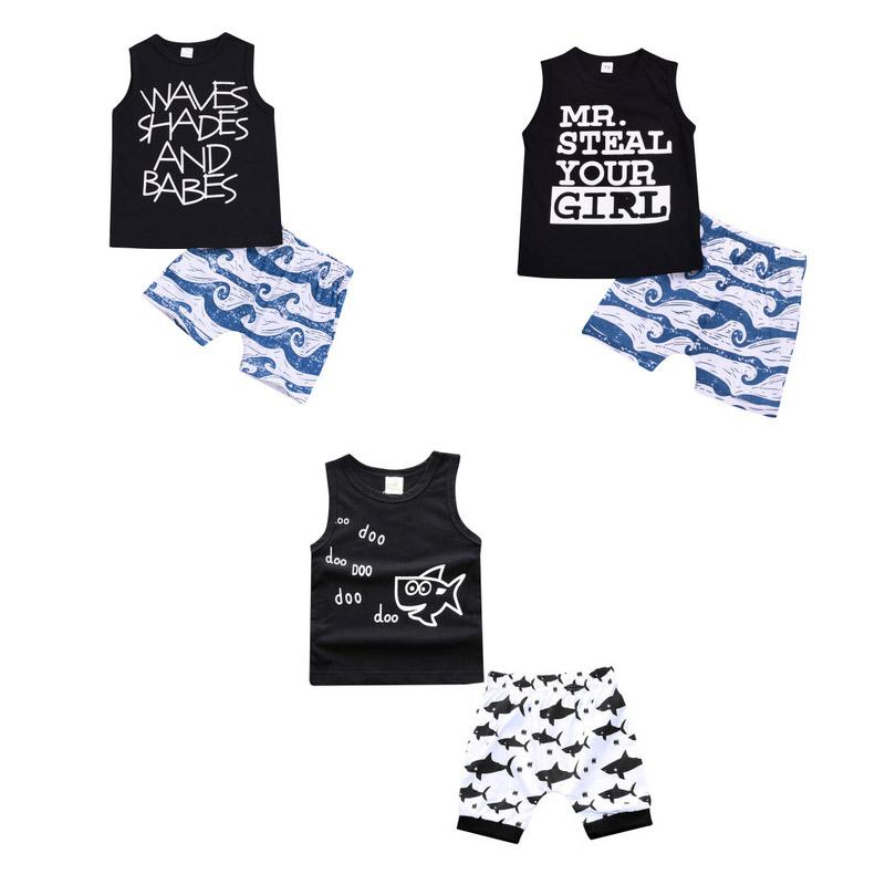Kids Clothing Sets Summer Baby boy Clothes Cartoon Fish Shark Print for Boys Outfits Toddler Fashion T-shirt Shorts Children Suits C4321