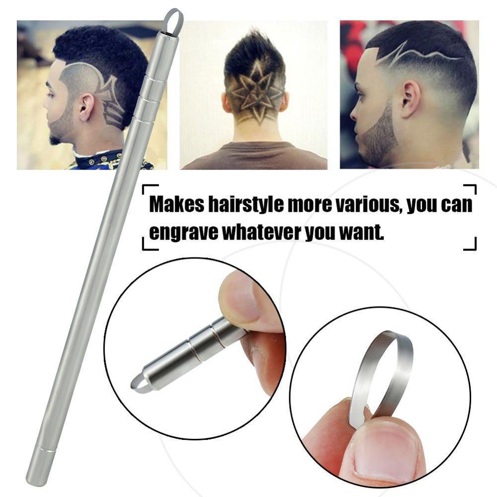 Grabado mágica tatuaje Talle pluma pelo de la barba Tijeras tatuaje de la ceja de la ceja Barbero Cabeza de aceite Talla Razor tatuaje de cortar el pelo de la pluma