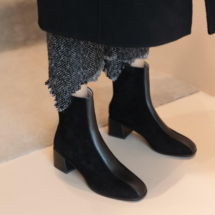 El tamaño grande 9 10 11-13 botas de las mujeres calza botines de invierno de la mujer zapatos de señoras de las mujeres después de coser la cremallera de material