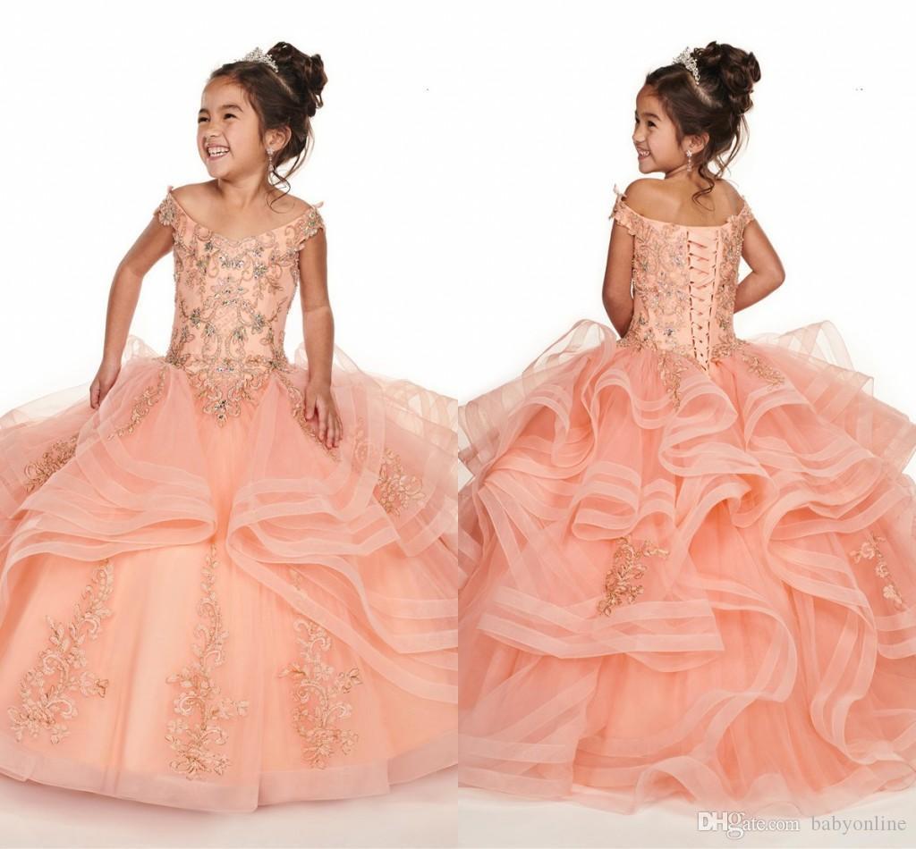 Niveau Ruches Coral Fille Pageant Robes 2020 Nouveau de l'épaule corset robe de demoiselle avec des perles cristaux pour Party Dress Teens