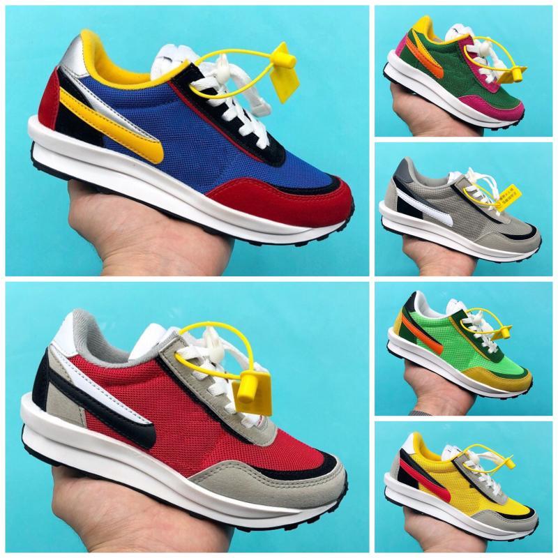 Nike X SACAI LD Waffle Bambini che funzionano marca scarpe traspiranti VERDE GUSTO Varsity Blues del sol Infant bambino atletiche ragazze del ragazzo sneakers Eur24-35