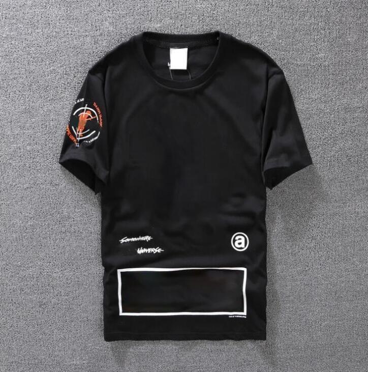 Casual T-shirt Erkek Giyim Yaz Tasarımcı Gömlek Siyah Beyaz Turuncu Boyutu S-XXL Pamuk Karışımı Ekip Boyun Kısa Kollu Karikatür Baskı