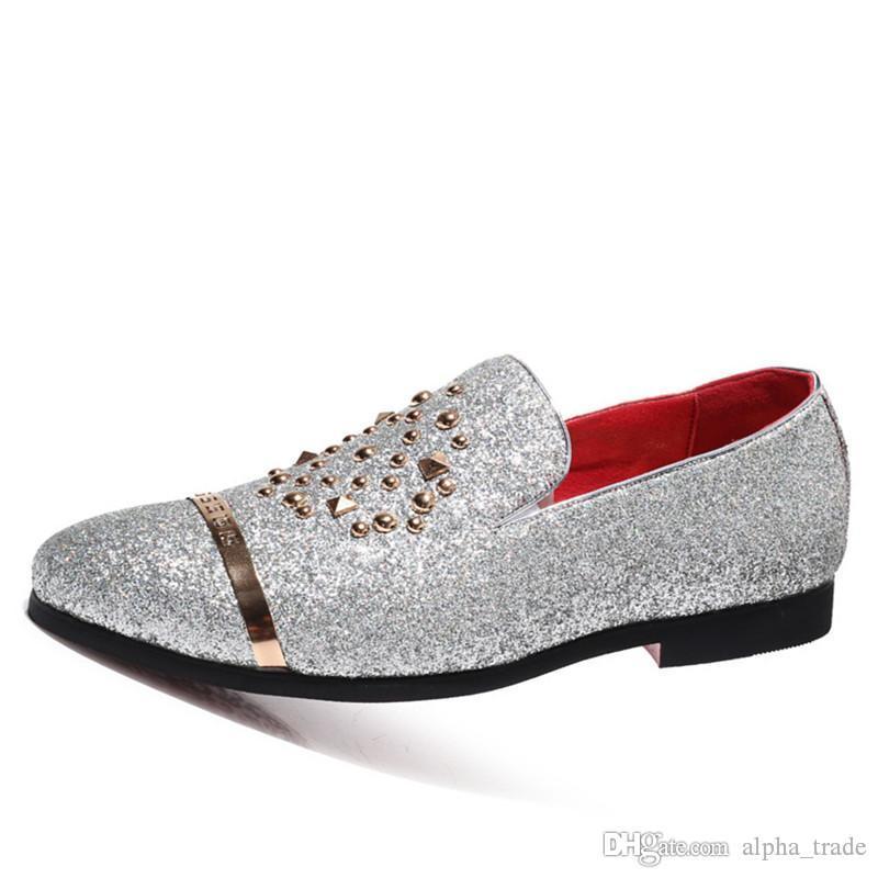 nouvelles paillettes de la mode italienne mocassins hommes nouvelle arrivée 2020 robe de mariée coiffeur chaussures formelles hommes élégantes chaussures de soirée hommes
