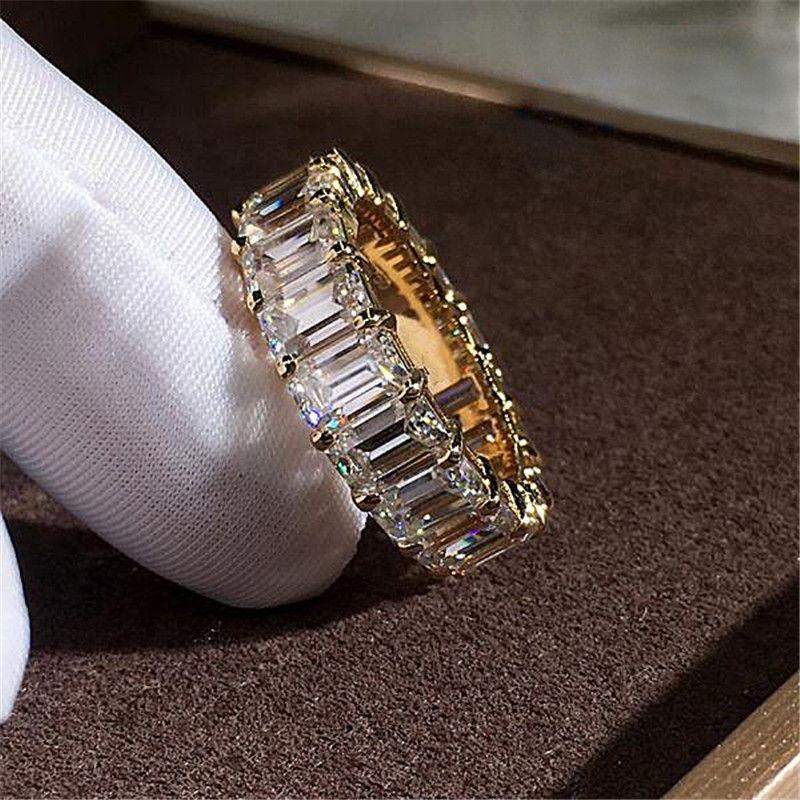 حار بيع جديد وصول المجوهرات الفاخرة 925 الاسترليني silvergold ملء الأميرة قص الأبيض توباز تشيكوسلوفاكيا الماس النساء زفاف خطوبة باند الطوق