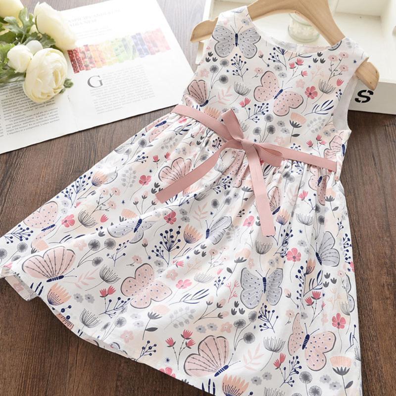 Crianças Meninas Crianças New Verão vestido floral Sweet Children Princesa da borboleta roupas vestido de Verão Casual Crianças Roupa Vestidos