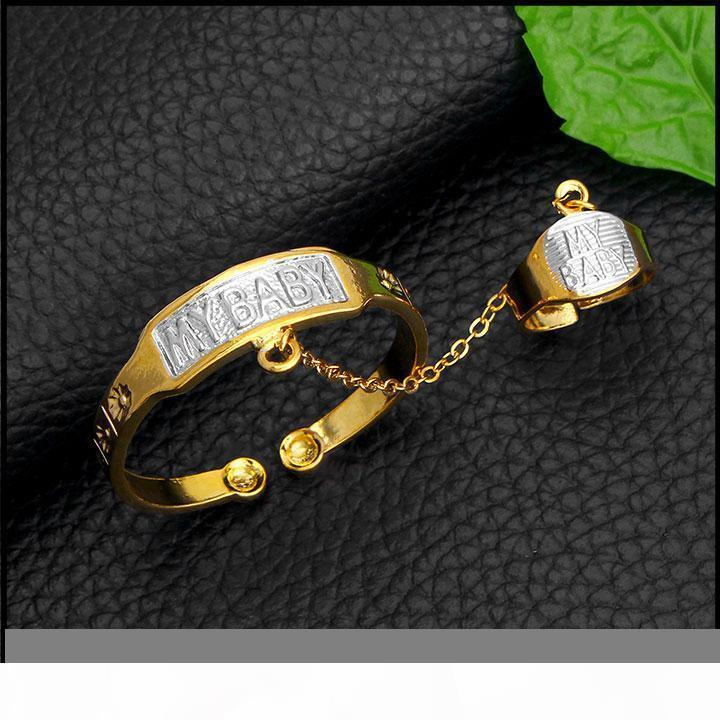 K New Two -Tone Baby Bangles With Ring Real Yellow Fine Gold Gf Anti -Allergy Letter Silvery My Baby Kids Daughter Son Cute
