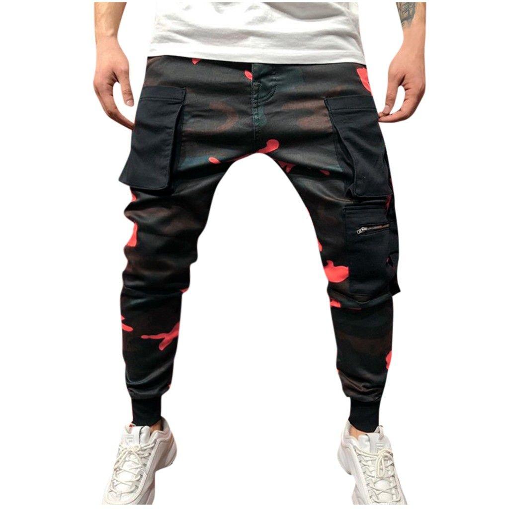 2019 pantalons hommes Streetwear Casual Outdoor Pocket plage Pantalons Camouflage pantalons de survêtement longues PANTALONES hombre