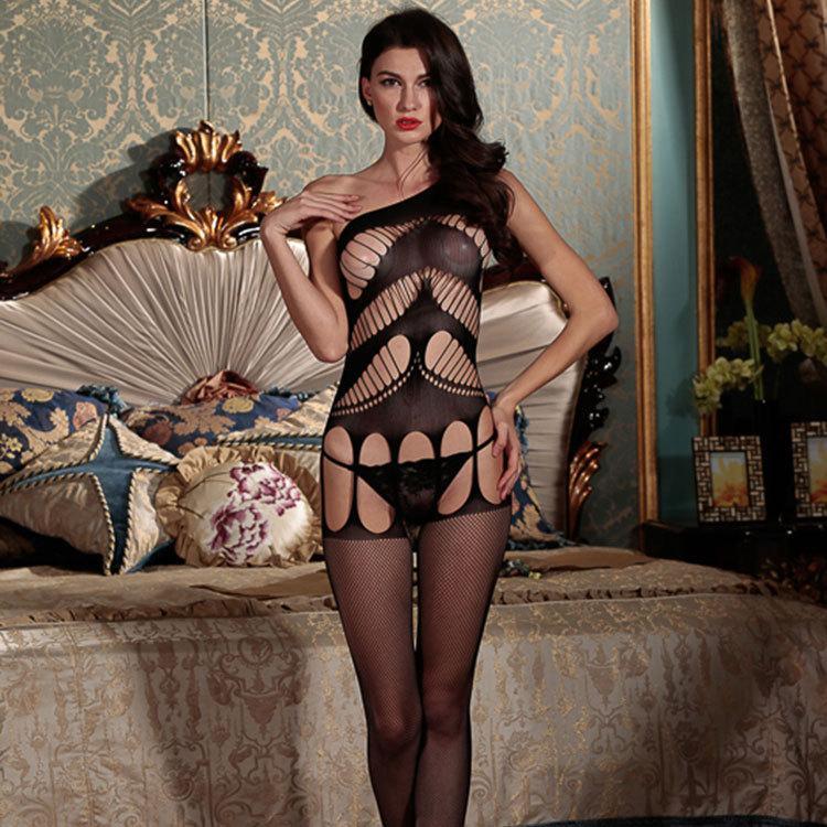 Femmes Crotchless Dentelle Cutout Bodystockings Noir épaule Babydoll Collants Chaussettes Sexy Lingerie de nuit évider Notte
