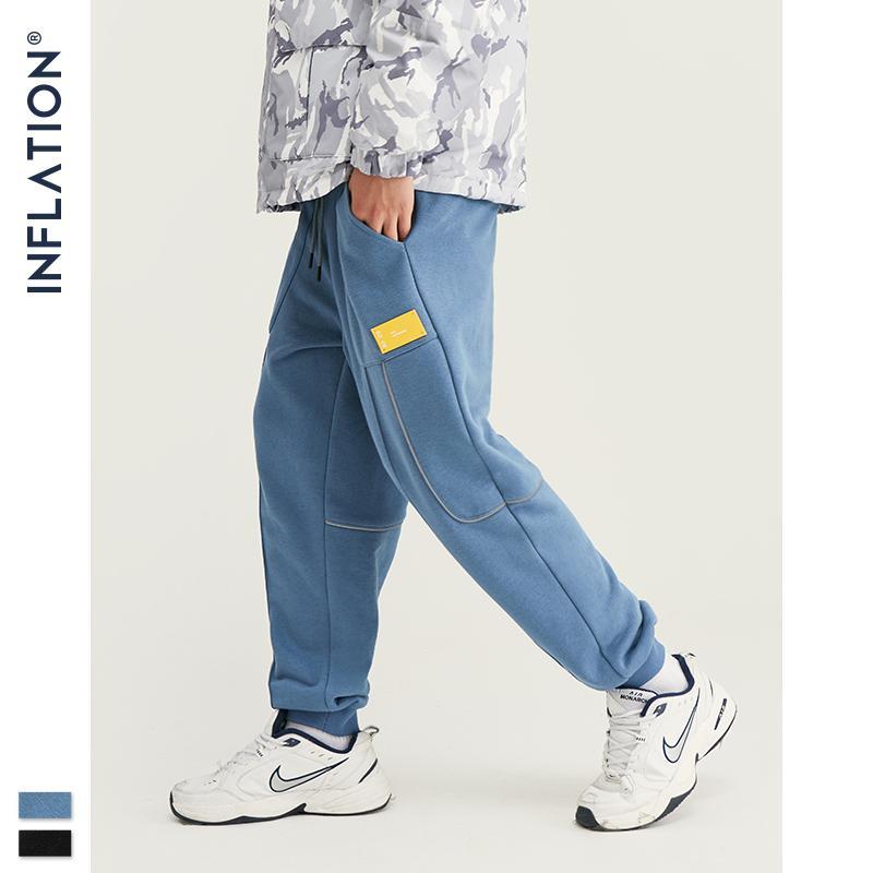 Enflasyon erkek Hip Hop Joggers eşofman altı ipli Streetwear örgü kumaş elastik Bel erkekler pantolon yan cep 93453 W V200414