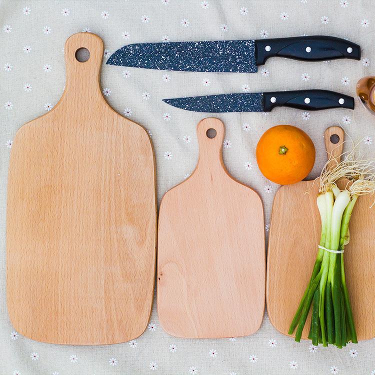 Tablas de cortar de madera Pizza Fruta Placa de pan Bloques de madera para picar Herramienta de la placa de pan para hornear Sin grietas Bloques de deformación GGA2604
