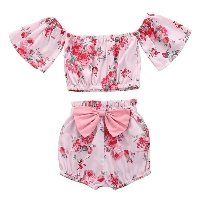 Été enfants Ensembles de bébé Girls Casual manches courtes imprimé fleurs Hauts T-shirt + Floral Shorts Costume Set Vêtements pour bébé Nouveau