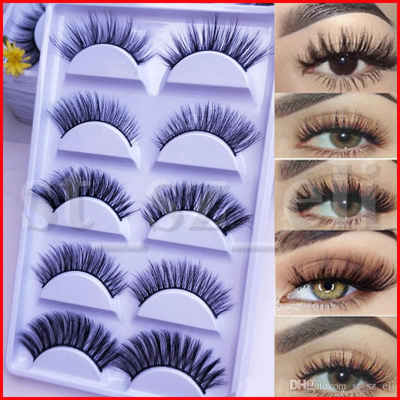 5 Pairs Box 3D Mink False Eyelashes Messy Cross Thick Natural Fake Eye Lashes Long False Eye Lashes 5 Styles