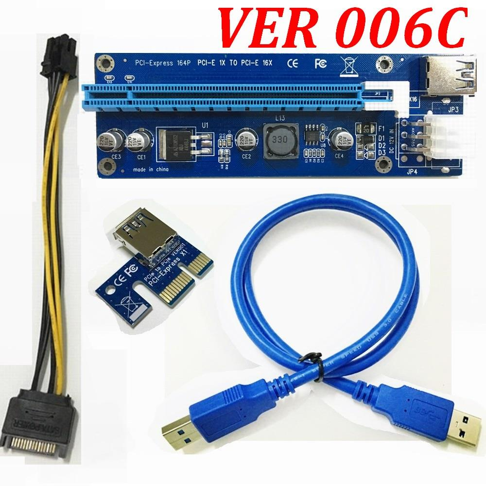 Cable Length: Blue USB 3.0 60cm Cables VER 006C Blue PCI-E PCE Express Riser Card 1X to 16X Extender USB3.0 Data Cable SATA to 6Pin IDE Power for BTC Miner