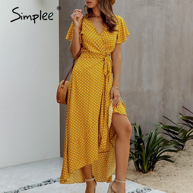 Simplee Seksi polka kadınlar Artı boyutu yüksek bel v boyun yazlık elbise Casual pamuk bir çizgi kemer tatil maksi elbise MX200319 karıştırdı elbise dot