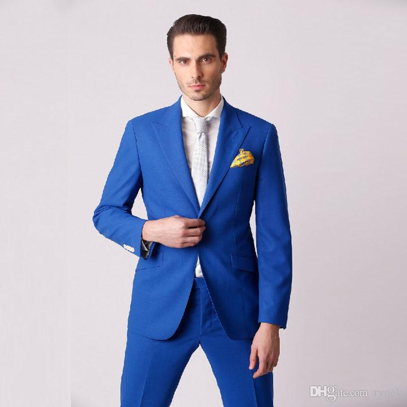 Groom Wedding Tuxedos Royal Blue Men Suits for Wedding Man Suits Blazers 2Piece(Coat+Pants)Wide Peaked Lapel Slim Fit Terno Masculino