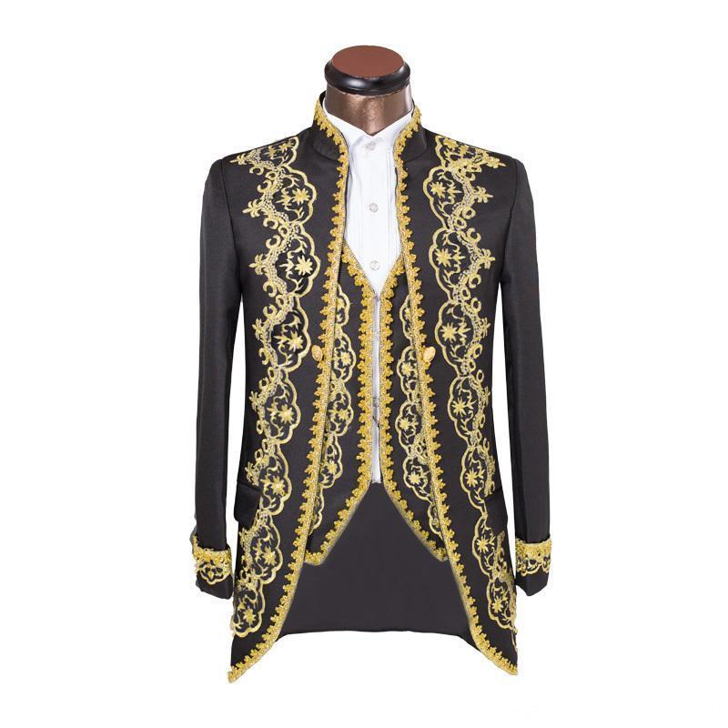 New 3 Piece Embroider Black Groomsmen Mandarin Lapel Groom Tuxedos Men Suits Wedding/Prom/Dinner Best Man Blazer(Jacket+Pants+Tie+Vest) 252