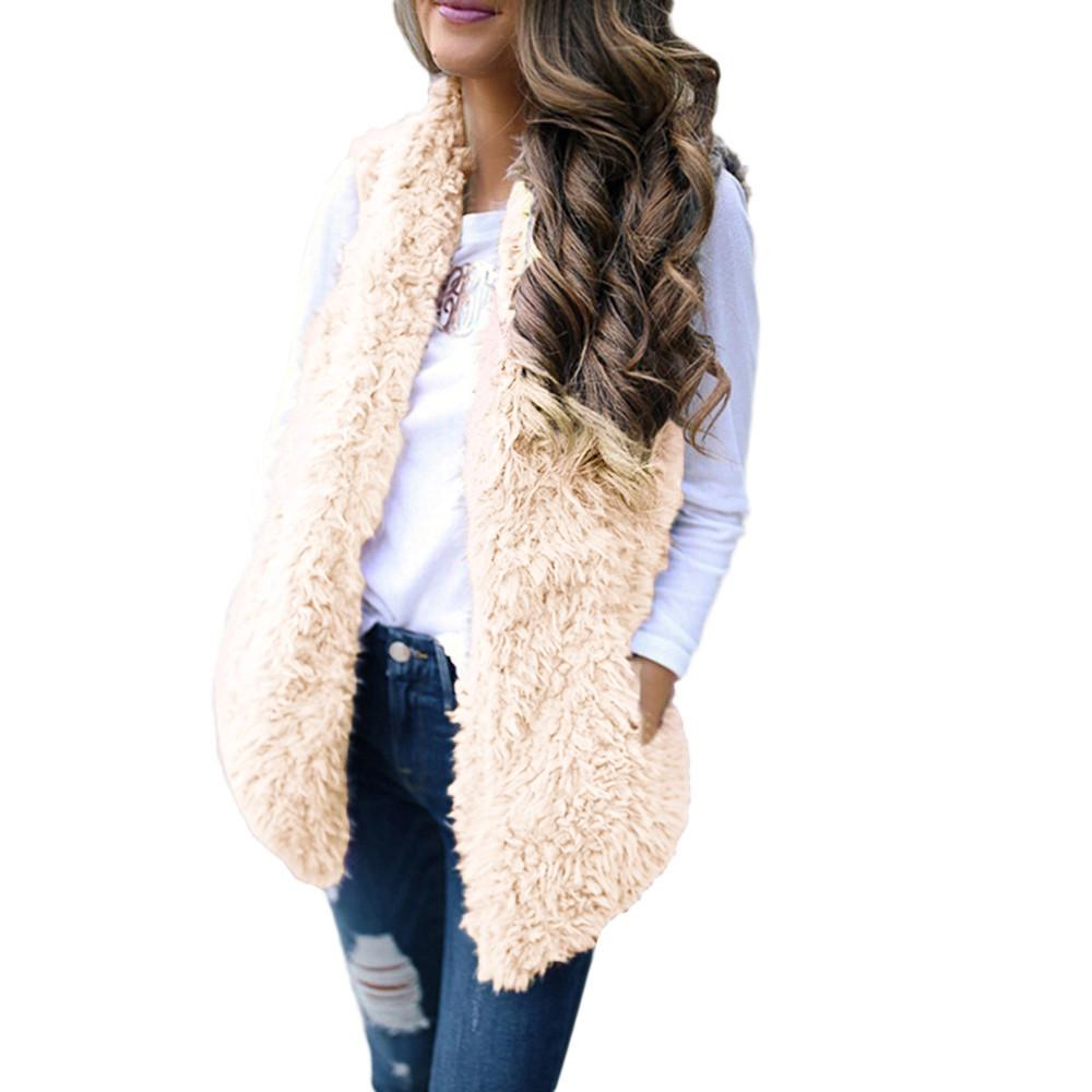Stylish Bar 2019 Womens Autumn Open Stitch Outwear Sexy Lady Vest Winter Warm Hoodie Cardigan Coat Fur Zip Up Sherpa Jacket #524