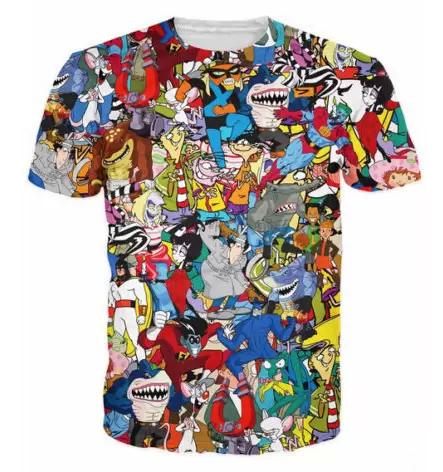 New Fashion Mens/Womans Extreme 90s Kid Cartoons Collage T-Shirt Summer Style Funny Unisex 3D Print Casual T-Shirt Tops Clothing