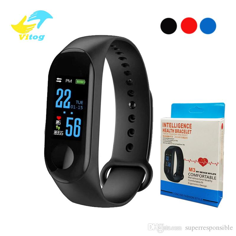 Vitog M3 Smart Bracelet Heart Rate Monitor Fitness Tracker Wristband Blood Pressure USB charger Sport Smart Band 3 With Retail Box