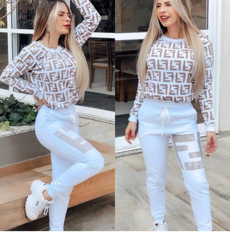 Kadınlar İlkbahar Sonbahar Spor Eşofman Üst + Pantolon 2 Adet Kadın Takımı Kıyafet Bayan sweatsuits eşofman Bayanlar Coat Pantolon takımları