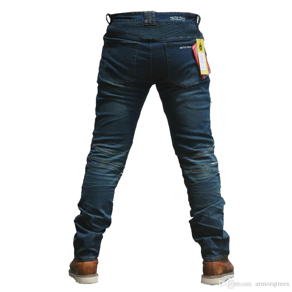 Blue, M=30 2019 Men Motorcycle Riding Jeans Armor Racing Cycling Pants with Upgrade Knee Hip Protector Pads