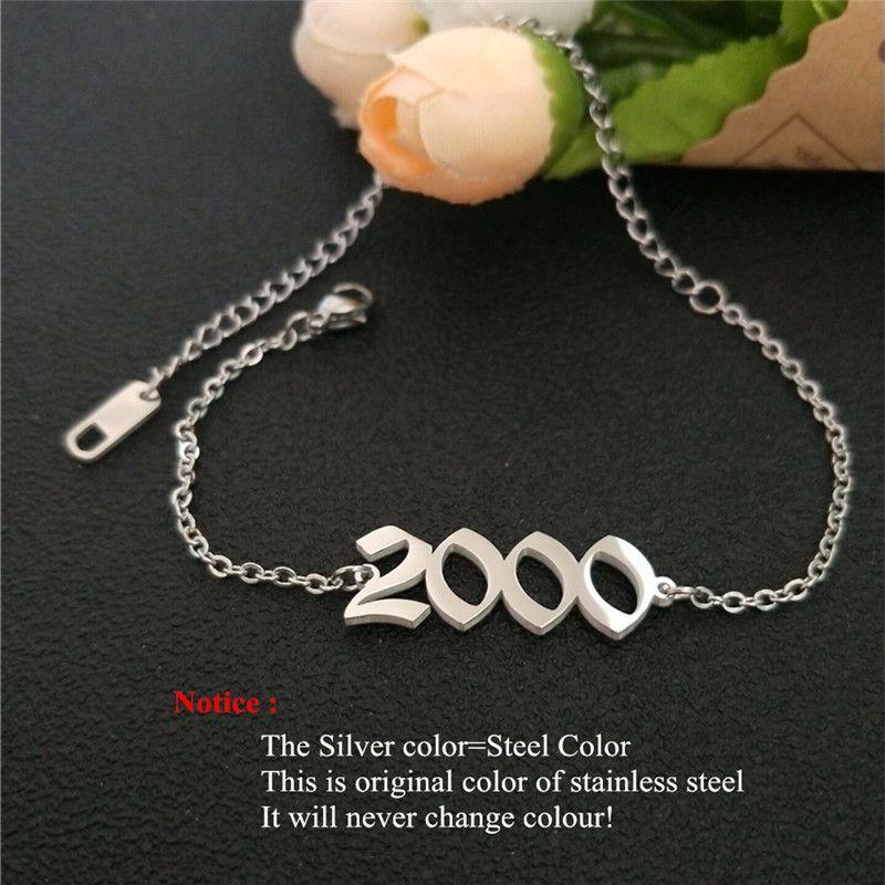 Paslanmaz Çelik Doğum Yılı Halhallar Gümüş Altın Eski İngiliz Numarası 1995 Bilezik Ayak Zinciri Parti Aksesuarları İçin Çocuk Hediye