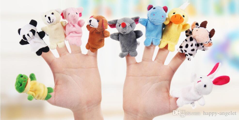 10sets = 100 sztuk Palec Zabawki Cute Cartoon Biologiczny Palec Animal Finger Puppet Pluszowe Zabawki Dziecko Dziecko Favor Lalki Chłopcy Dziewczyny Palec Kukiełki