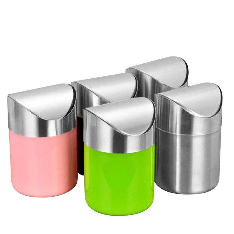 سطح المكتب حاوية النفايات الفولاذ المقاوم للصدأ فليب على القمامة الصغيرة يمكن مركبة مصغرة منع صناديق القمامة الرياح الملونة 11gs L1