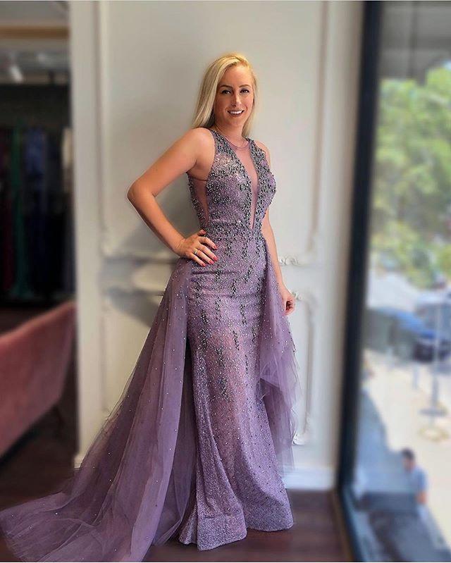 Nouveau Luxe Femmes Dubai Robes De Soirée Perlées Longues 2019 Sans Manches Soirée Sirène Robes De Soirée De Bal Formelle Robe Avec Train