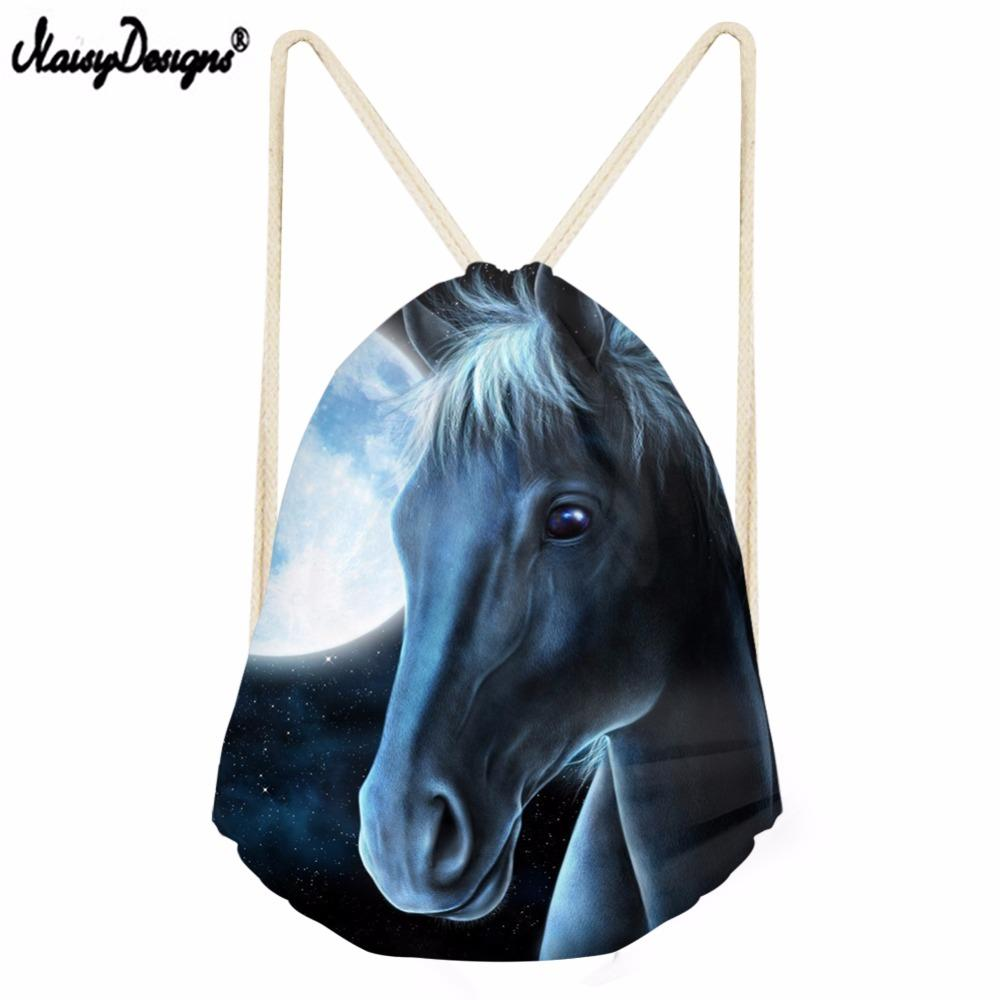 Noisydesigns Drawstring Bag The gradient color beauty Horse Travel Sport Bags Cinch Sackback Cool Boy Girls Small Backpack Soft
