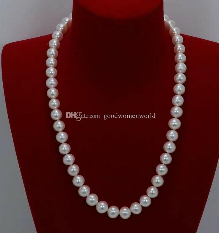 Fine pearls jewelry high quality 20 inch Japanese Akoya 9-10mm white pearl Necklace 14K Yellow Gold clasp