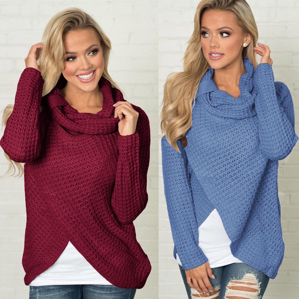 Женская мода куча воротник Свободные Пуловеры рубашки с длинным рукавом нерегулярные подол повседневный сплошной цвет топ свитер