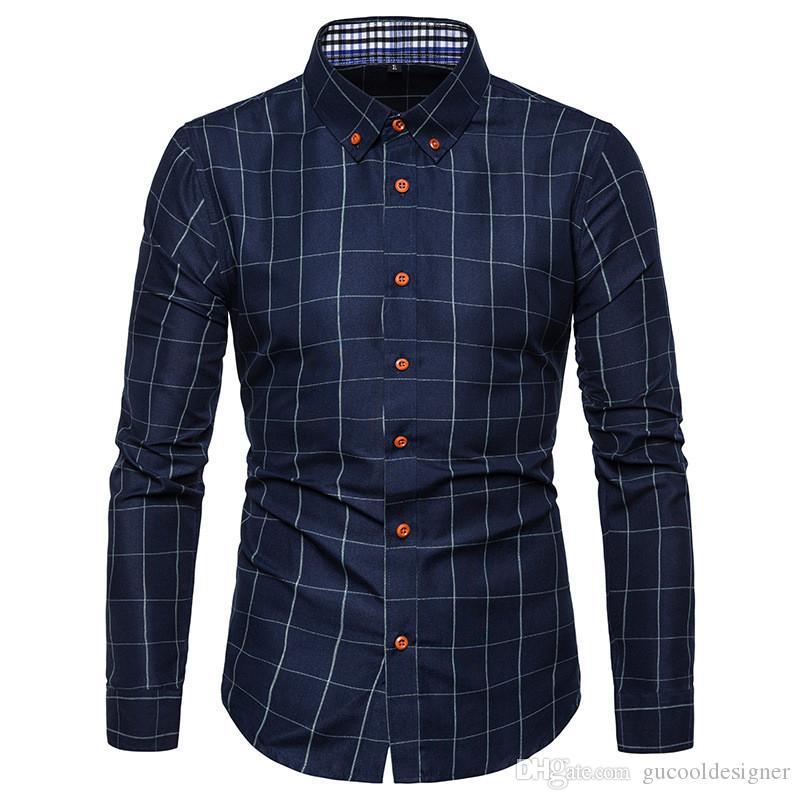 Primavera camisa casual para hombres Plaid impreso para hombre camisas delgadas diseñador de moda para hombre de manga larga Tops