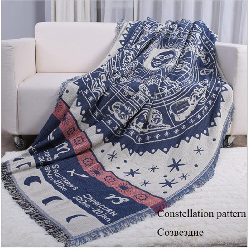 Vintage Constellation Pattern Cotton Throw Blanket Knitting Tassel Mechanical Wash Blankets For Beds/Sofa Wall Tapestries