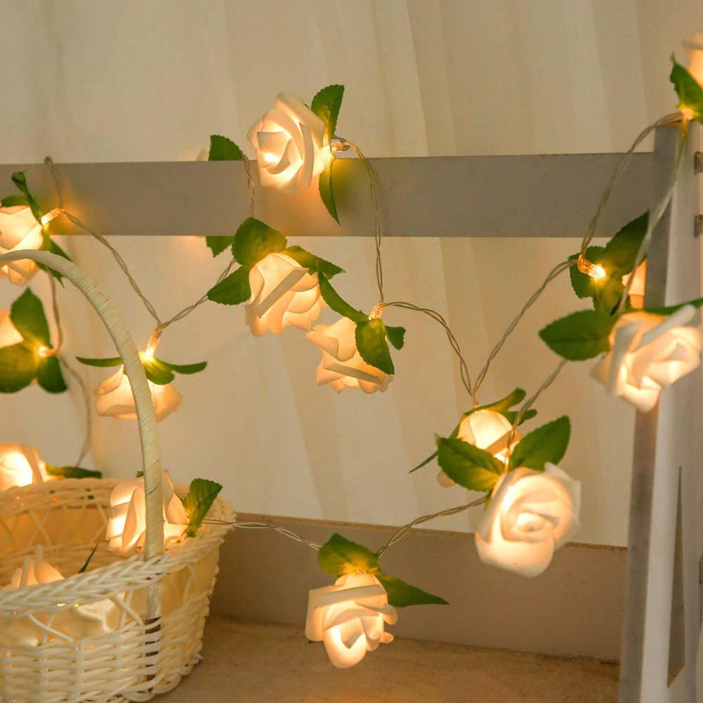 LED Rose Battery Powered Fairy String Light Wedding Xmas Garden Home Decoration