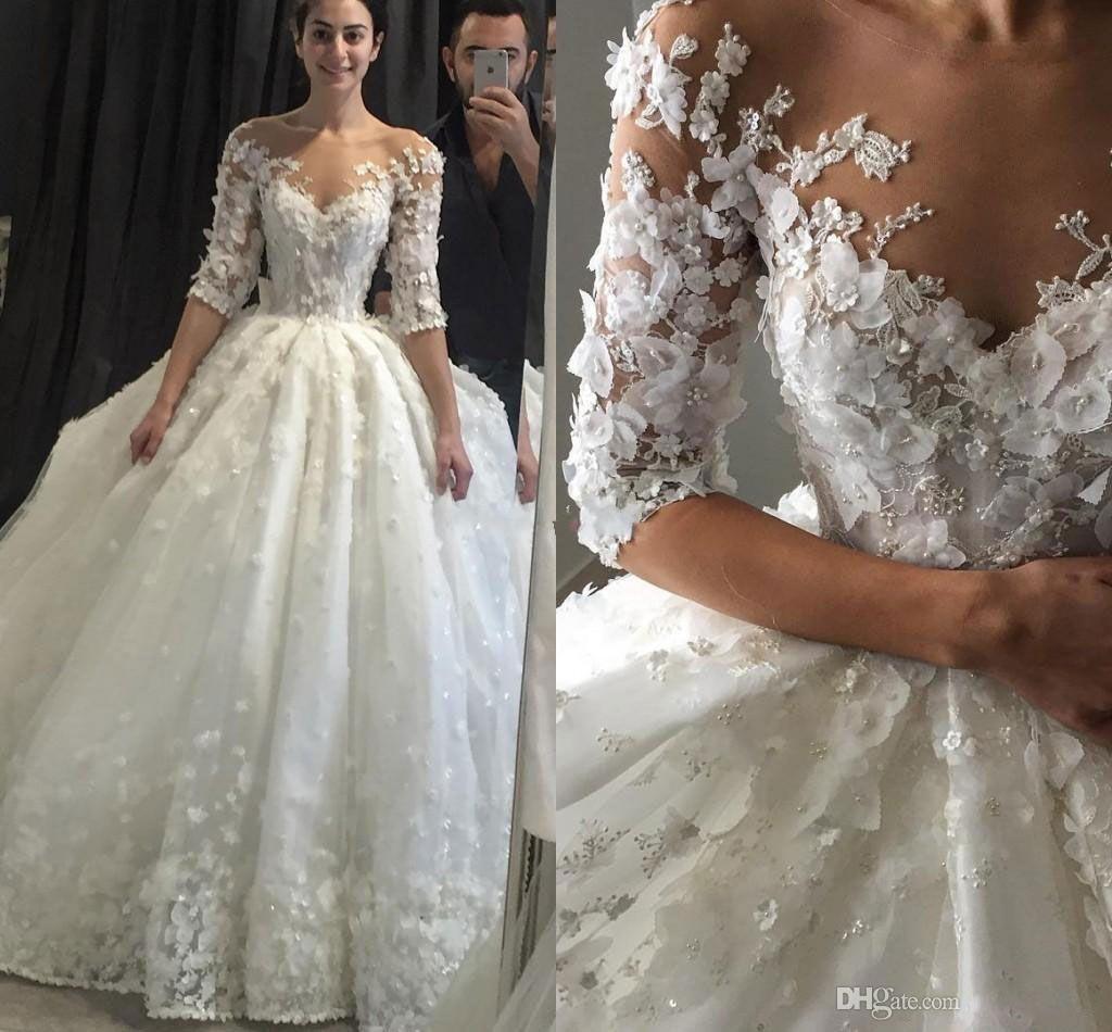2020 Luxury Wedding Dresses Bridal Gowns A Line Sheer Neck Open Back with 3D Flowers Court Train Princess Cheap Bridal Dresses Plus Size 246