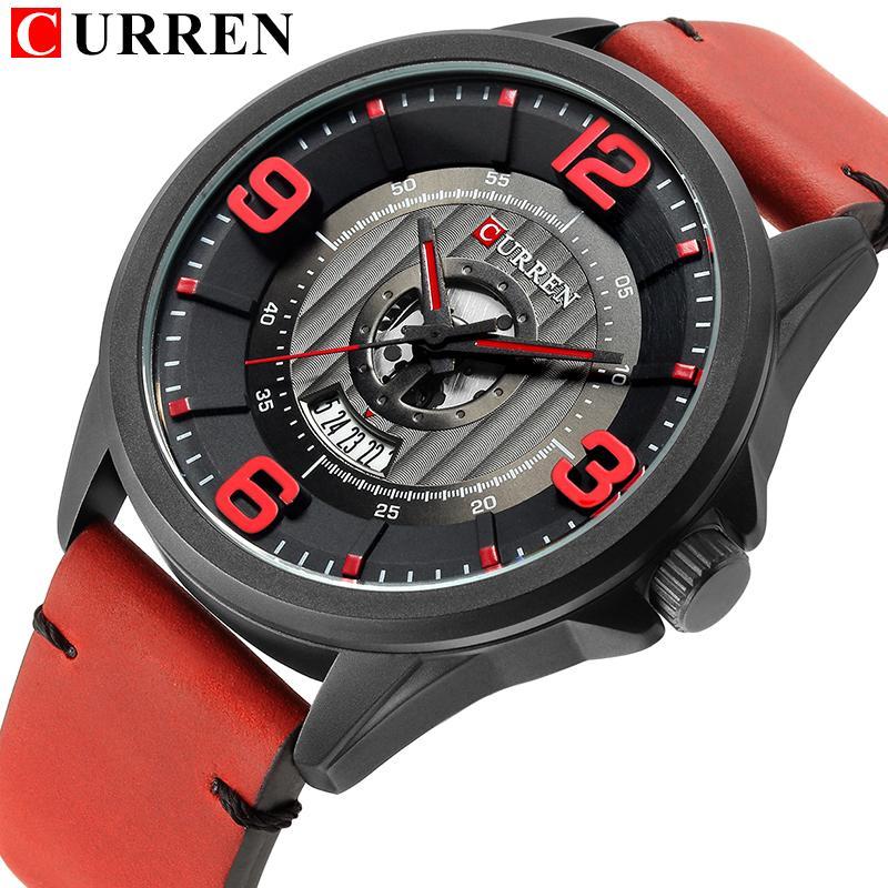 Militar CURREN 2018 NEW Men Relógios Digital Exército de quartzo impermeável relógio couro Strap Data Relógio de pulso Reloj Hombre