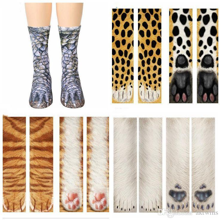 3D Animal Print Socks Adult Children Funny Cotton Socks Kawaii Cute Animal Paw Sock Fashion High Ankle Socks For Girl Boy LXL694-1