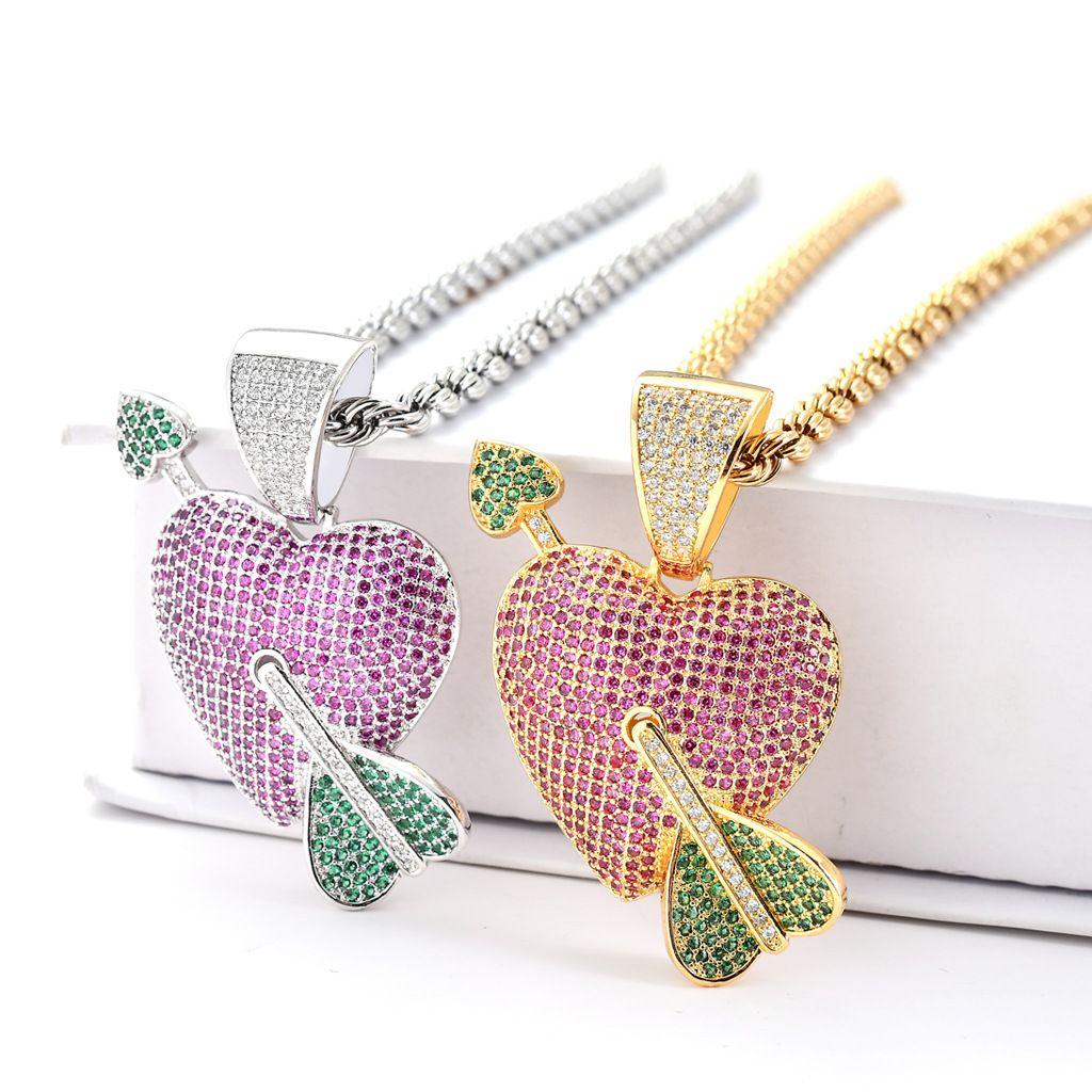 Lovely Hip hop Heart arrow shape pendant necklace Hip hop zircon pendant necklace Stainless steel Hiphop pendant jewelry wholesale