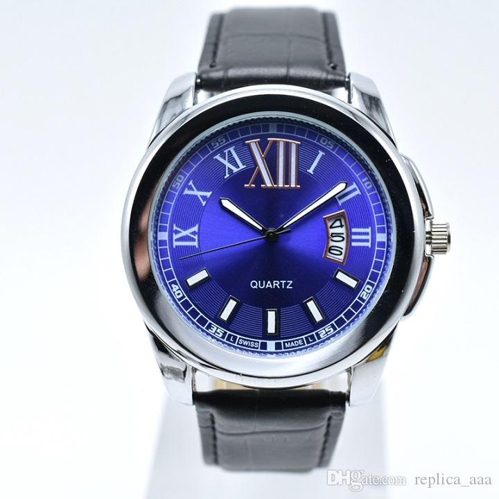 Dropshipping Men Analog Band Band Men Roman Wristwatch Luxury Leather Gift Watch Auto Fecha de cuarzo Relojes de cuarzo 40mm Designer de envío gratis DI GEPQV